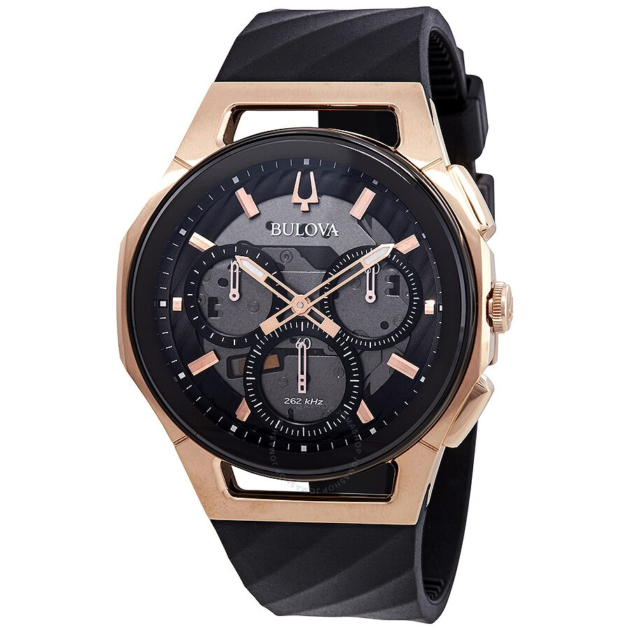 a3dd8a2ad Bulova Curv Chronograph Black Dial Men's Watch 98A185 - Curv ...