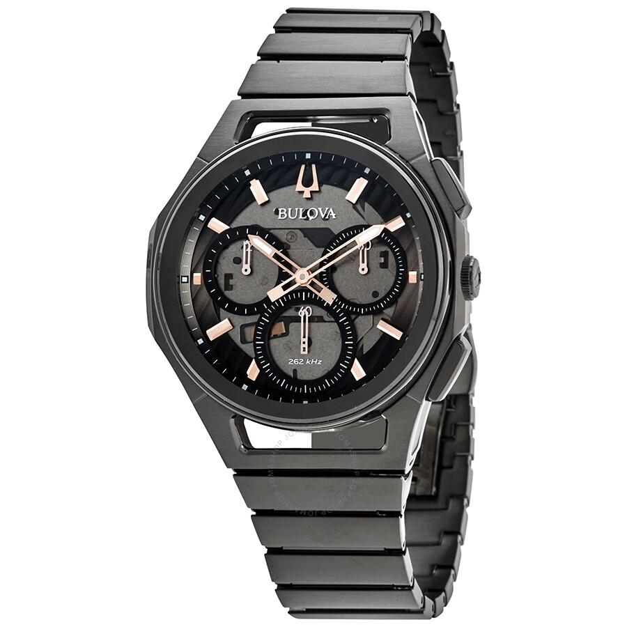 4a65c029f Bulova CURV Chronograph Quartz Black Dial Men's Watch 98A207 - Curv ...