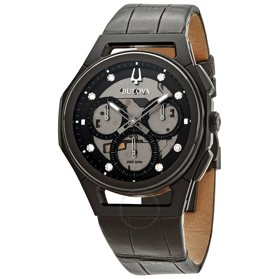 8bf6c6925 Bulova CURV Chronograph Quartz Diamond Black Dial Men's Watch Item No.  98D152