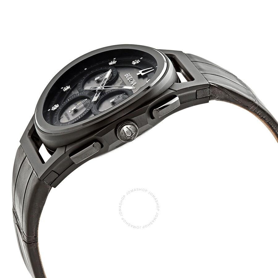 30658b57d ... Bulova CURV Chronograph Quartz Diamond Black Dial Men's Watch 98D152 ...