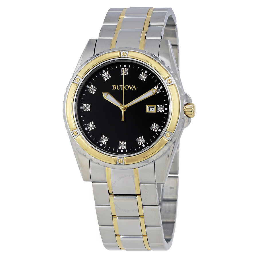 Bulova diamond black dial men 39 s diamond watch 98d122 for Diamond watches