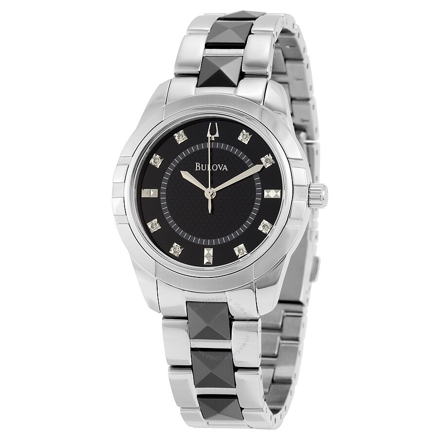 Bulova diamond black dial steel and ceramic ladies watch 98p136 diamond bulova watches for Diamond dial watch
