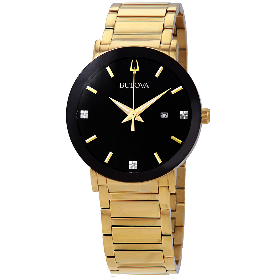 Bulova diamond black dial yellow gold tone men 39 s watch 97d116 diamond bulova watches for Diamond dial watch