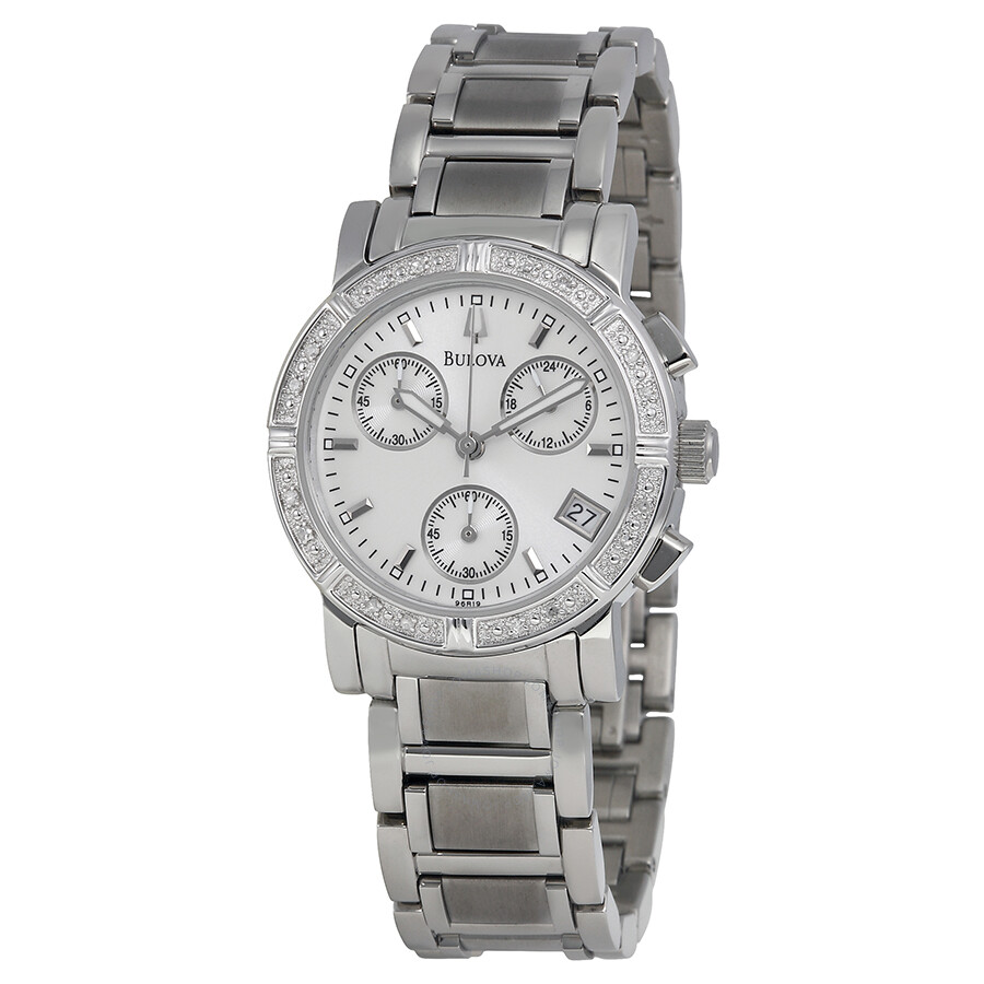 bulova diamond chronograph ladies watch 96r19 diamond bulova watches jomashop