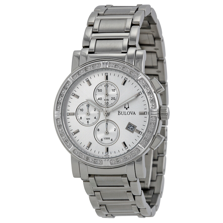 Bulova diamond chronograph silver dial stainless steel men 39 s watch 96e03 diamond bulova for Diamond dial watch