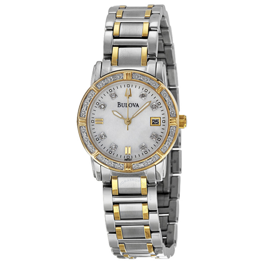 Bulova diamond ladies watch 98r107 diamond bulova watches jomashop for Woman diamond watches