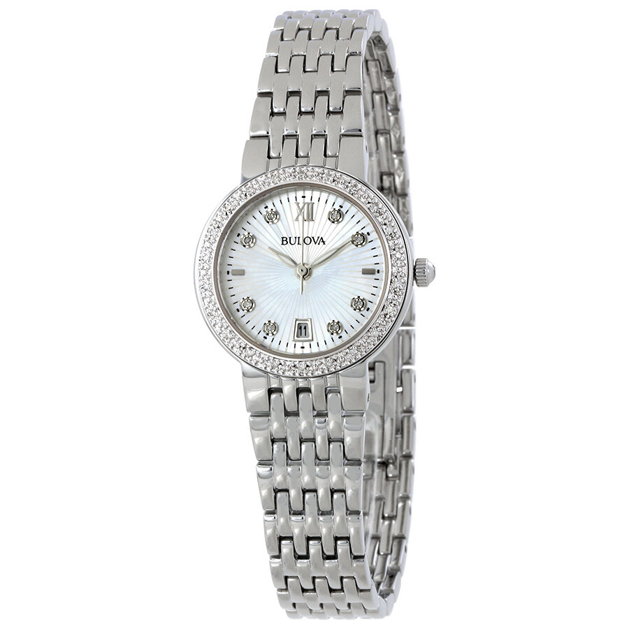 Bulova diamond mother of pearl dial ladies watch 96w203 diamond bulova watches jomashop for Mother of pearl dial watch