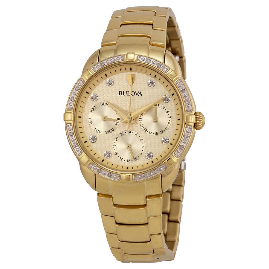 Bulova diamond multi function champagne dial gold tone ladies watch 98r171 diamond bulova for Watches bulova