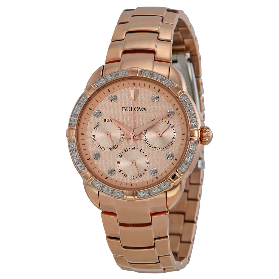 Bulova diamond multi function champagne dial rose gold tone ladies watch 98r178 diamond for Diamond dial watch