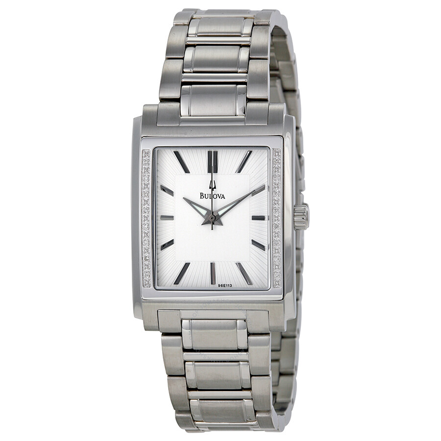 bulova diamond white dial stainless steel men s watch 96e113
