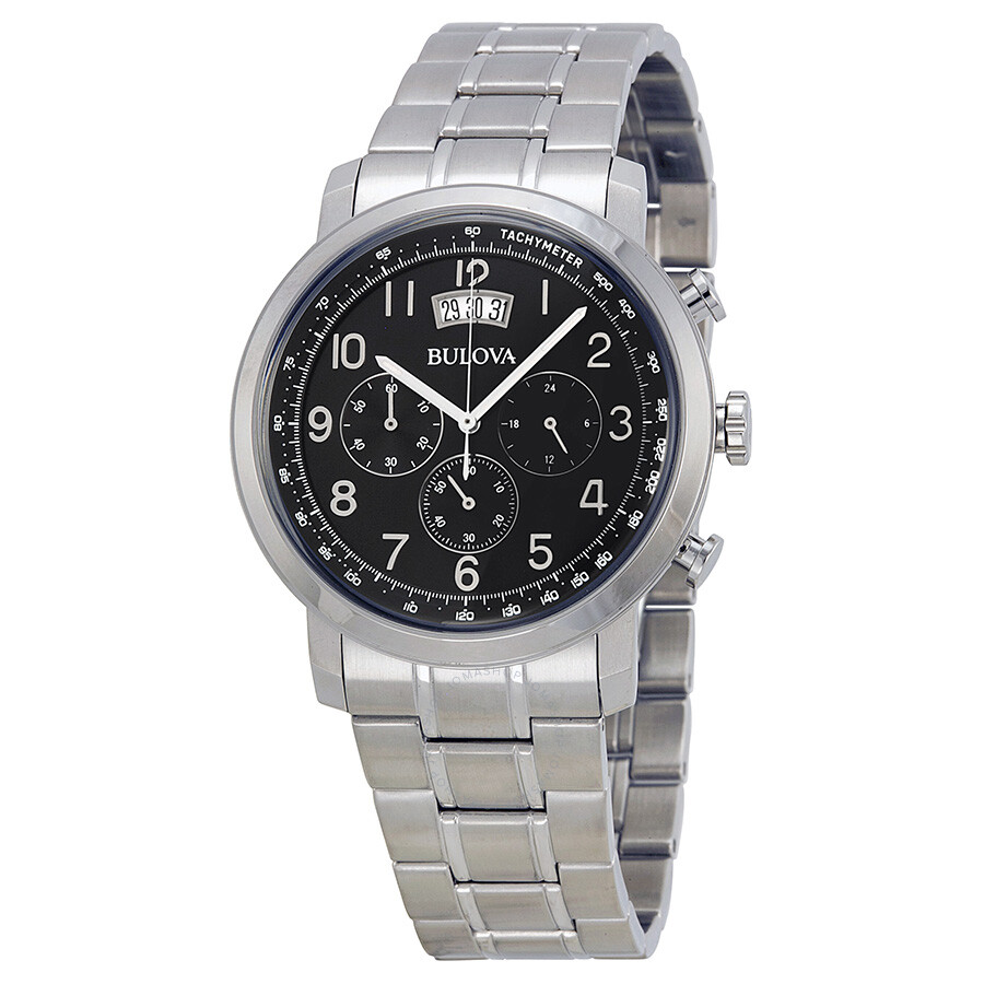 Bulova dress chronograph black dial stainless steel men 39 s watch 96b202 dress bulova for Watches bulova