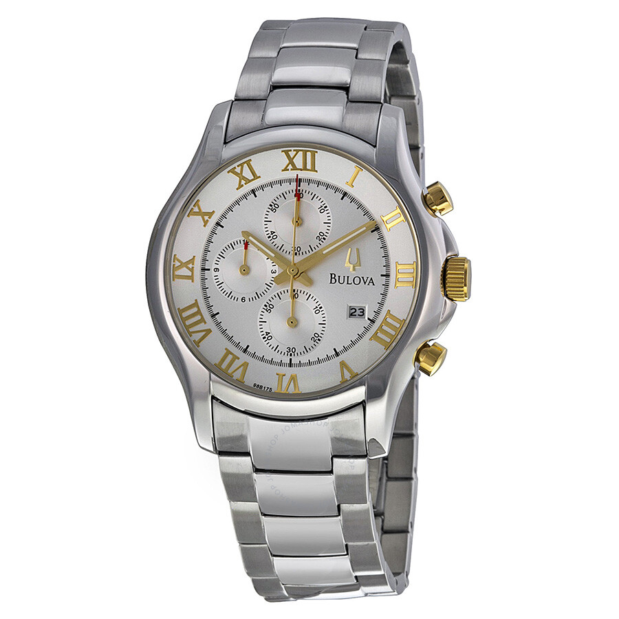 8fcb9774546a Bulova Dress Chronograph Silver Dial Stainless Steel Men's Watch 98B175 ...