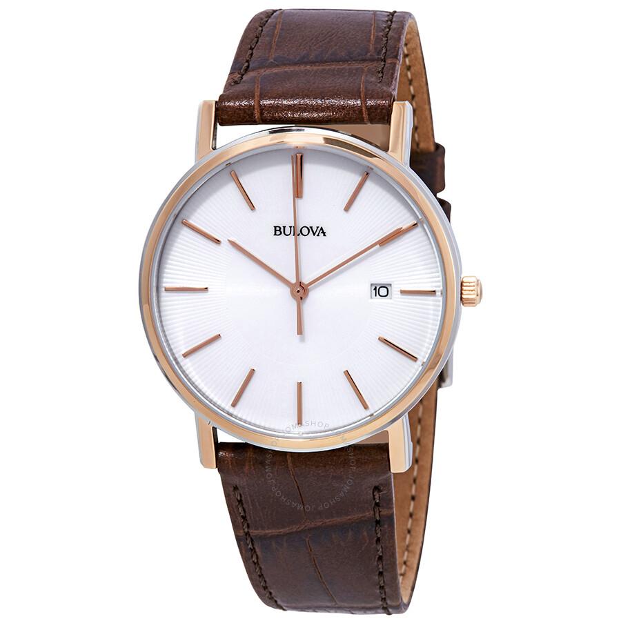 7c27b24db Bulova Dress Series White Dial Brown Leather Men's Watch 98H51 ...
