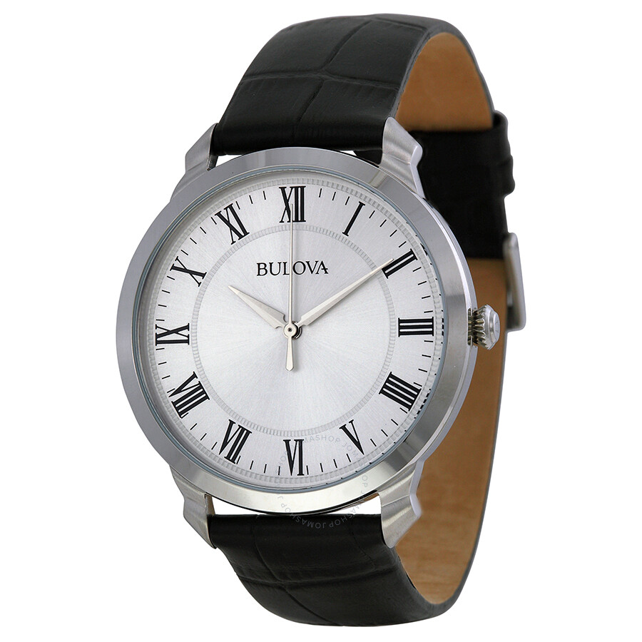 5adc42da090 Bulova Dress Silver Dial Black Leather Men s Watch 96A133 - Dress ...