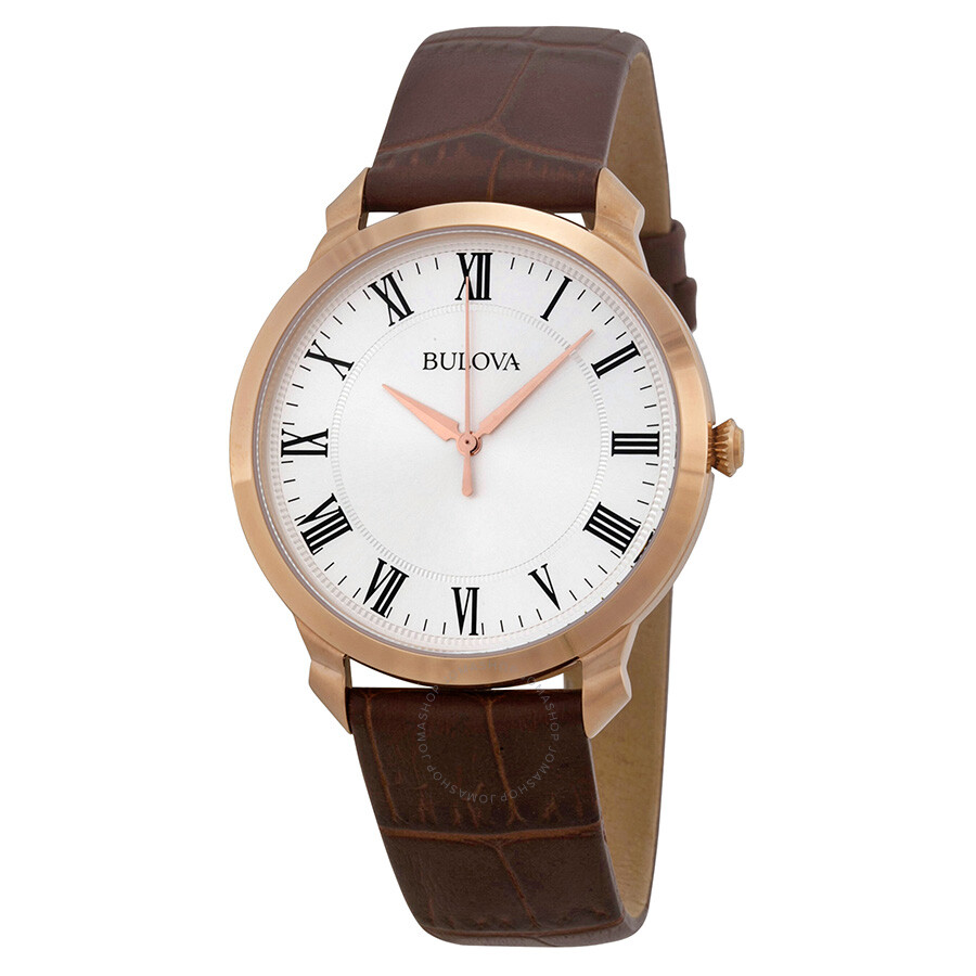 Bulova dress silver dial brown leather men 39 s watch 97a107 dress bulova watches jomashop for Watches bulova