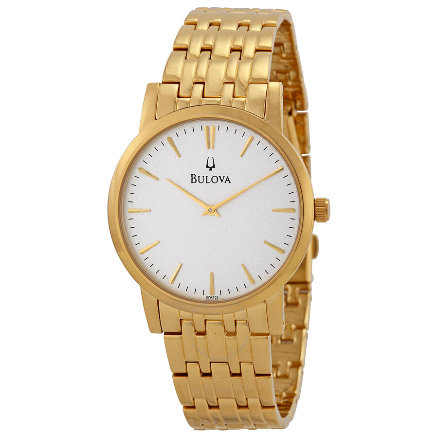 Bulova gold tone men 39 s dress watch 97a102 dress bulova watches jomashop for Watches bulova