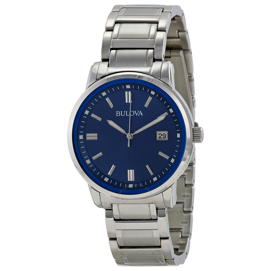 Bulova highbridge blue dial stainless steel men 39 s watch 96b160 bulova watches jomashop for Watches bulova