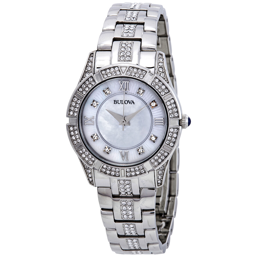 776a8db9cc783 Bulova Crystals Mother of Pearl Dial Ladies Watch 96L116