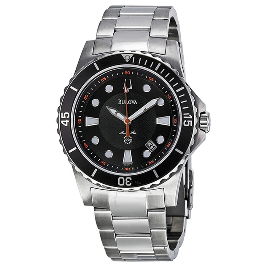 50c3b4628 Bulova Marine Star Black Dial Stainless Steel Men's Watch 98B131 ...