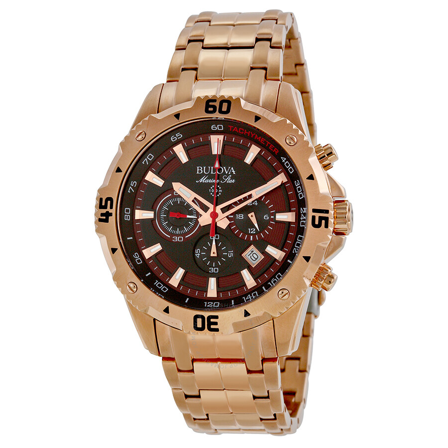 Bulova marine star brown dial rose gold tone stainless steel men 39 s watch 97b121 marine star for Marine watches