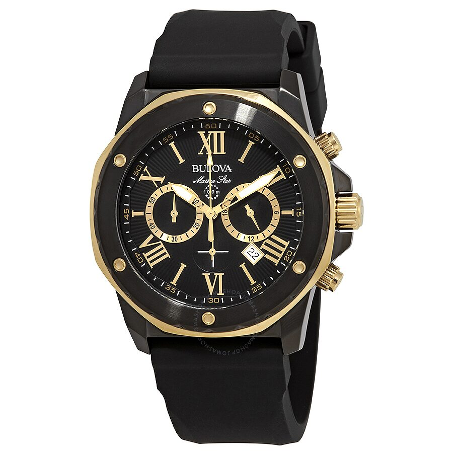 39e2b53a518 Bulova Marine Star Chronograph Black Dial Men s Watch 98B278 ...
