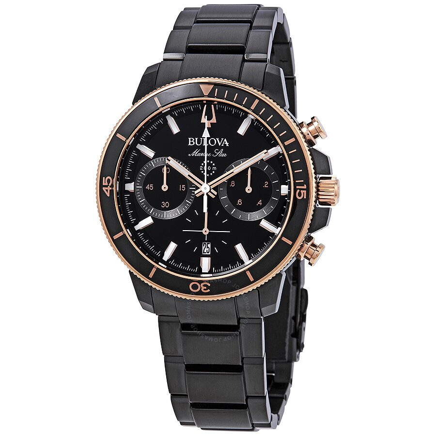 16d9f4faa Bulova Marine Star Chronograph Black Dial Men's Watch 98B302 ...