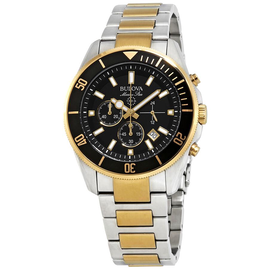 59704a1e4 Bulova Marine Star Chronograph Black Dial Men's Watch 98B249 ...