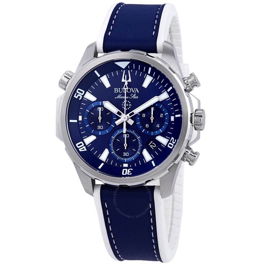 91f2dab7b0e Bulova Marine Star Chronograph Blue Dial Men s Watch 96B287 - Marine ...