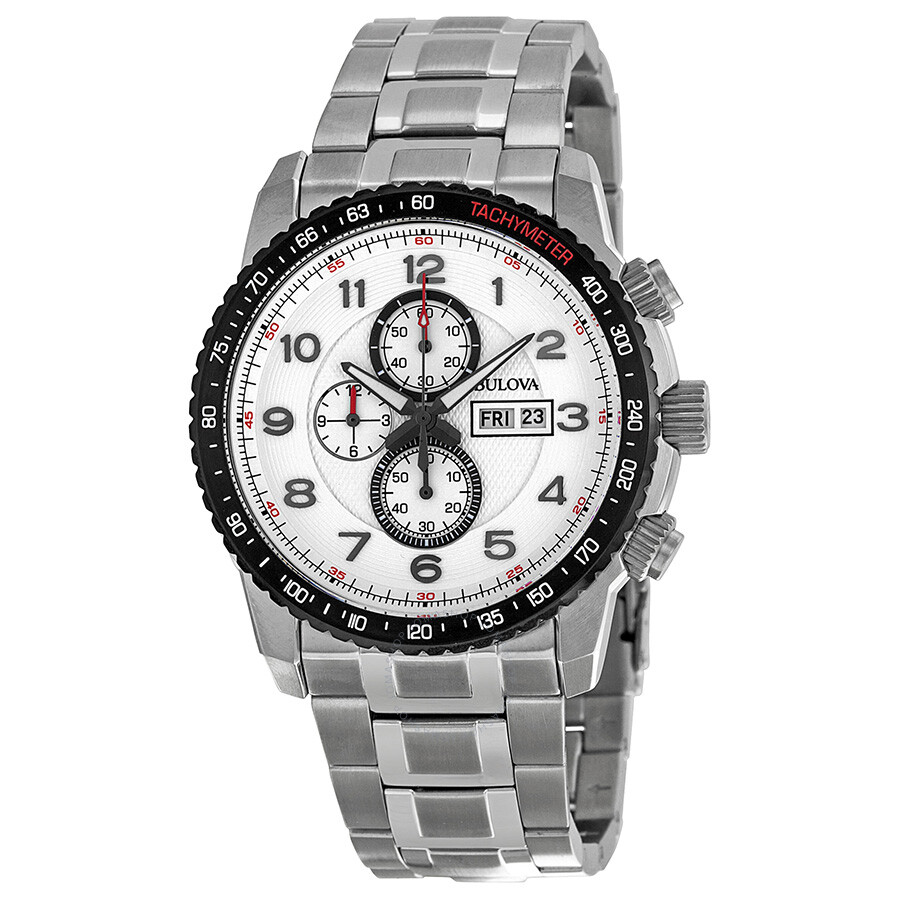 Bulova marine star chronograph silver and white dial steel men 39 s watch 98c114 marine star for Bulova watch