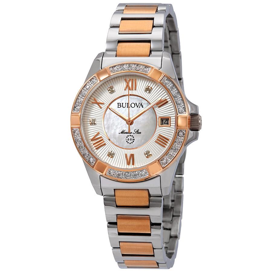 3b032e9ef Bulova Marine Star Diamond White Mother of Pearl Dial Ladies Watch 98R234  ...