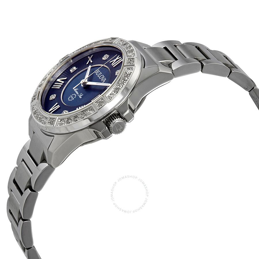 f364bcfb0 ... Bulova Marine Star Midnight Blue Mother of Pearl Diamond Dial Ladies  Watch 96R215 ...