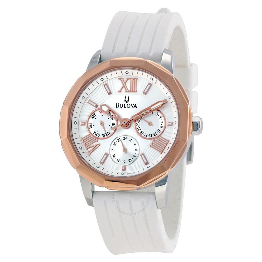 Bulova Marine Star Multi-Function White Dial White Rubber ...