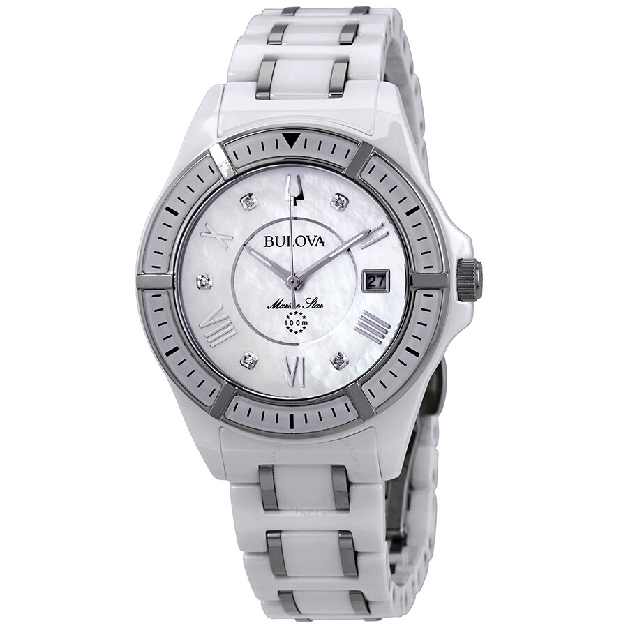 3b95f042d Bulova Marine Star Silver Mother of Pearl Diamond Dial Ladies Watch 98P172  ...