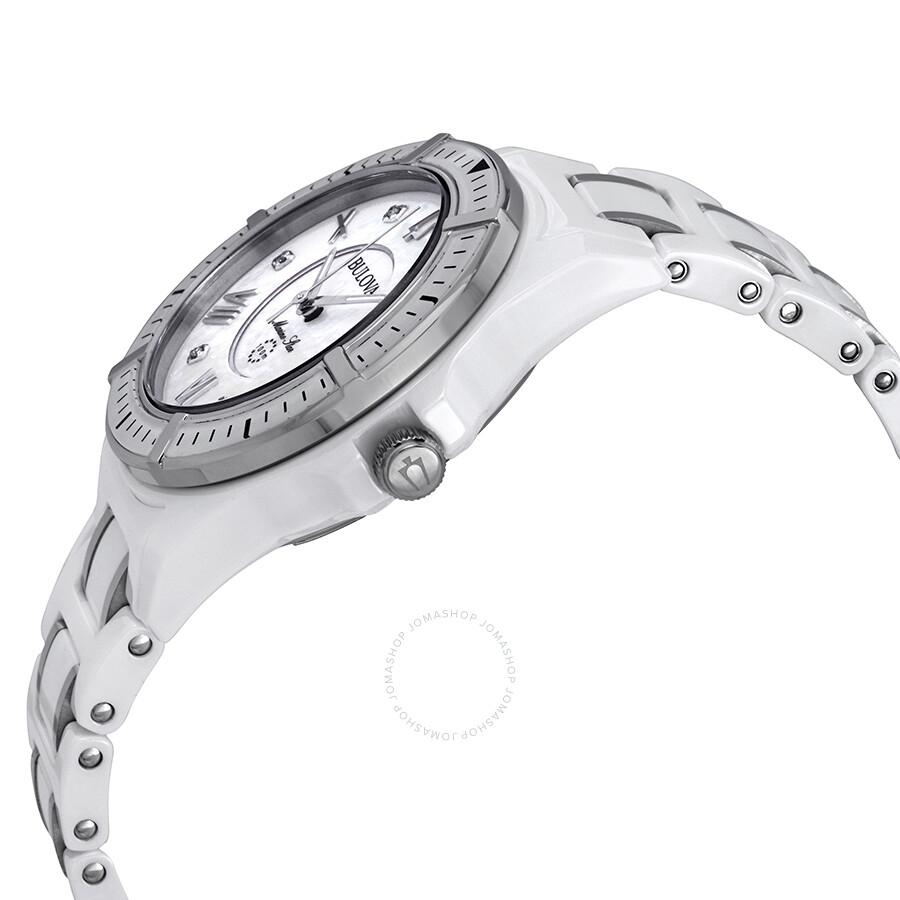 e362ec5a9 ... Bulova Marine Star Silver Mother of Pearl Diamond Dial Ladies Watch  98P172 ...