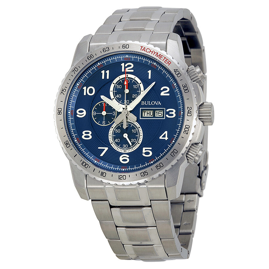 dd69f3671 Bulova Marine Star Sport Chronograph Blue Dial Stainless Steel Men's Watch  96C121 ...