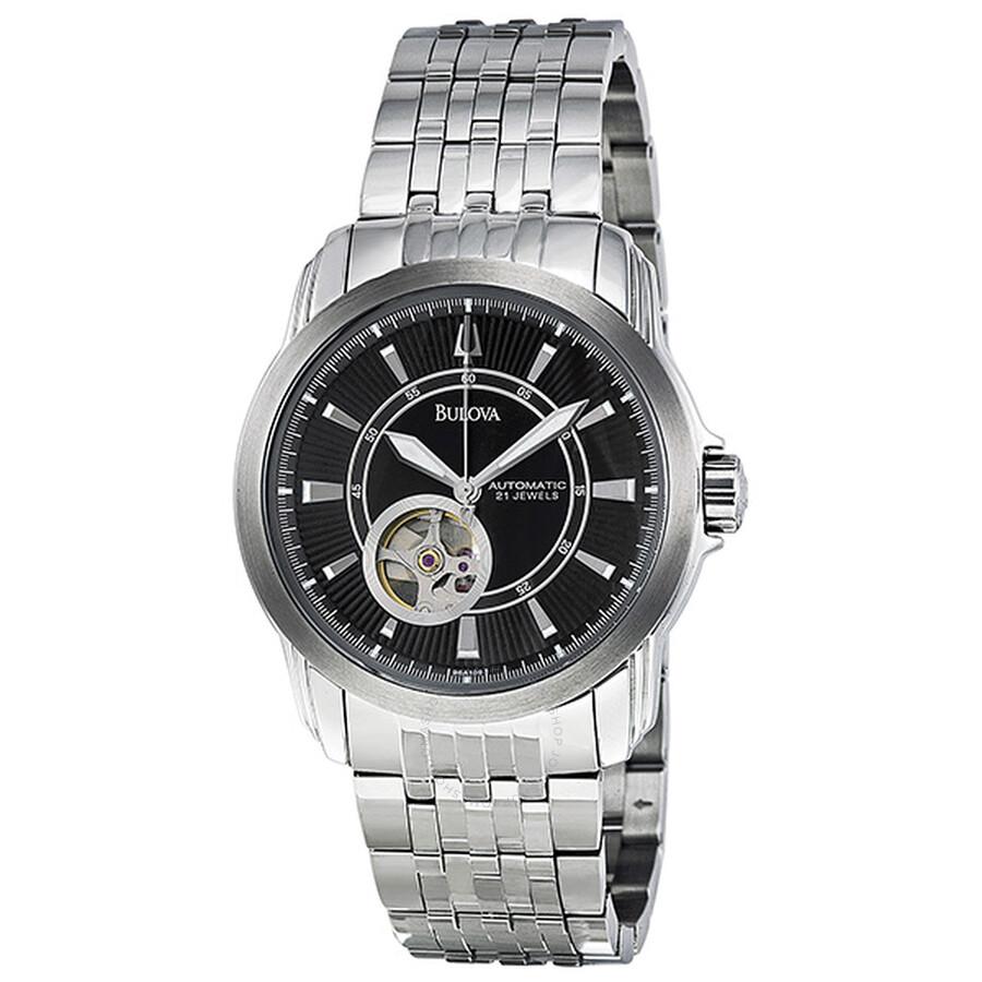 4e3fc88935f0 Bulova Men s Automatic Mechanical Bracelet Black Dial Watch 96A106 ...