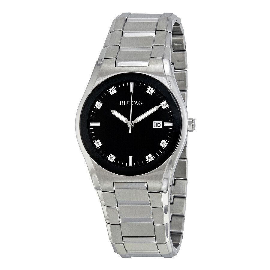 Bulova men 39 s black dial 8 diamonds bracelet watch 96d104 diamond bulova watches jomashop for Watches bulova