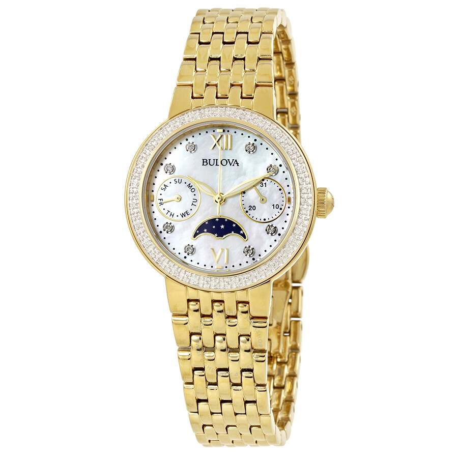 Bulova mother of pearl dial diamond ladies watch 98r224 bulova watches jomashop for Diamond dial watch