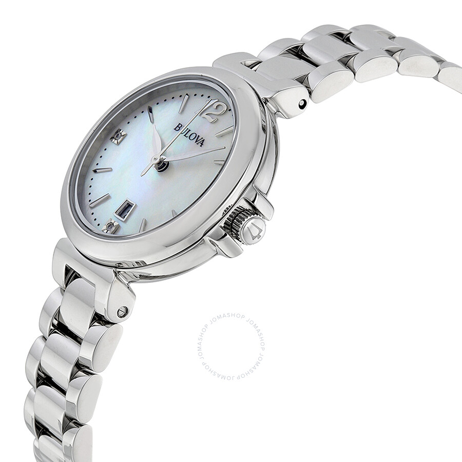 Bulova mother of pearl dial quartz ladies watch 96p149 diamond bulova watches jomashop for Mother of pearl dial watch