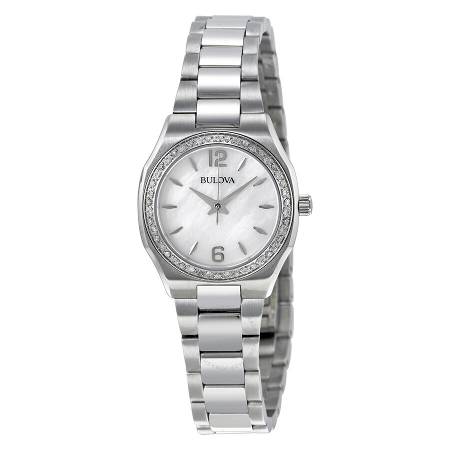 Bulova mother of pearl dial stainless steel ladies watch 96r199 diamond bulova watches for Watches bulova