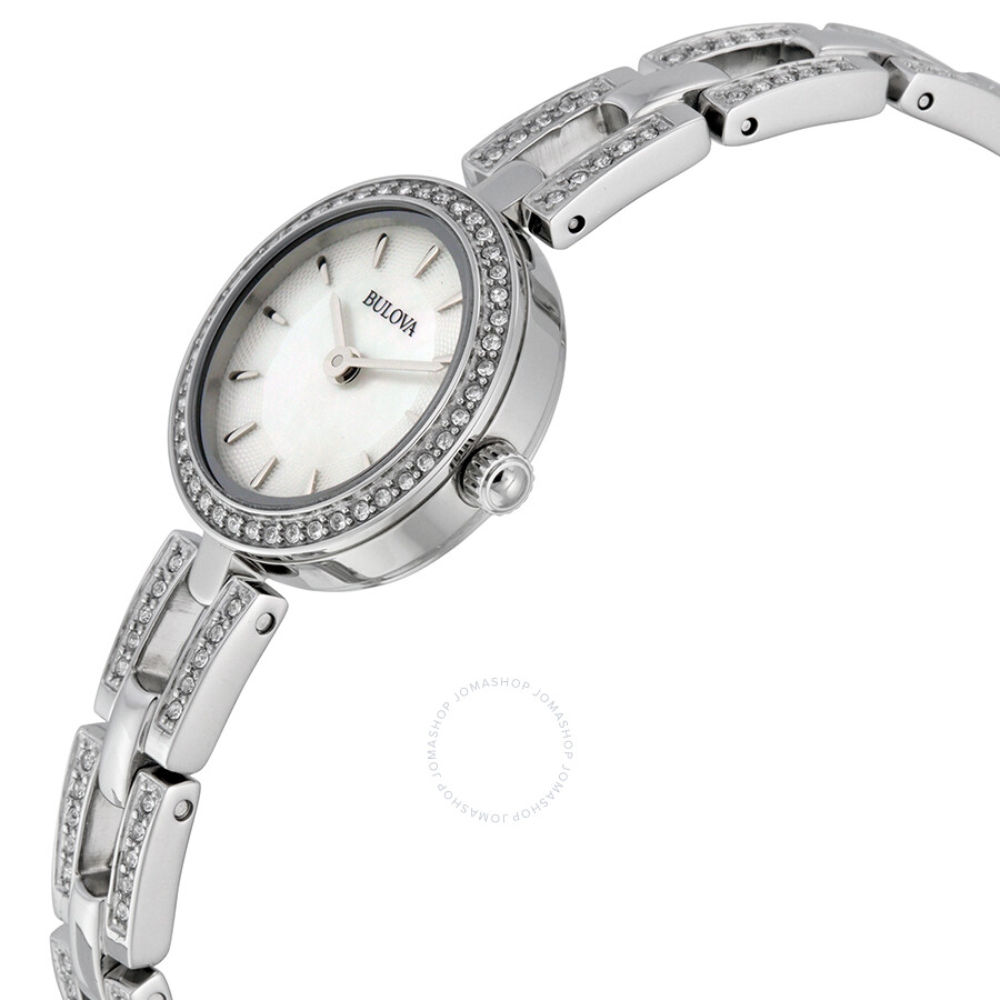 Bulova mother of pearl dial stainless steel ladies watch 96x130 crystal bulova watches for Mother of pearl dial watch