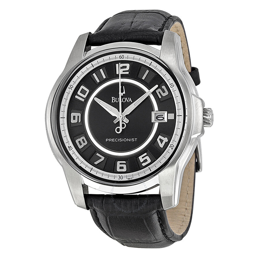 Bulova precisionist black leather strap men 39 s watch 96b127 precisionist bulova watches for Watches bulova