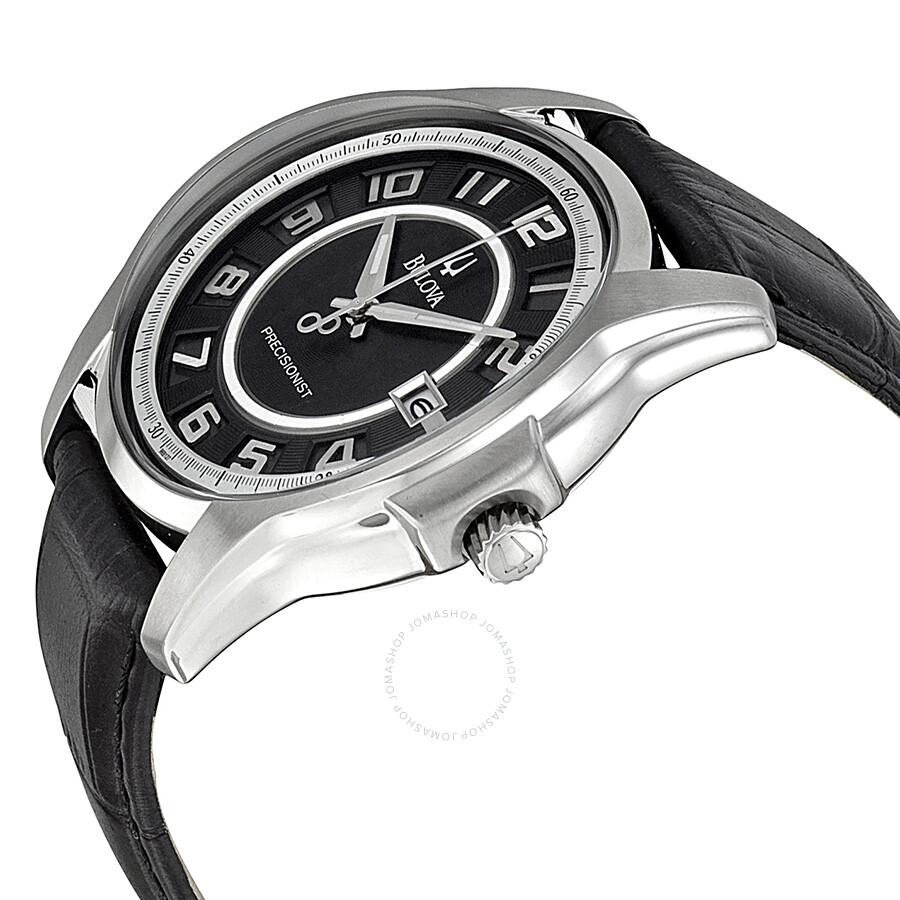 Bulova precisionist black leather strap men 39 s watch 96b127 precisionist bulova watches for Black leather strap men