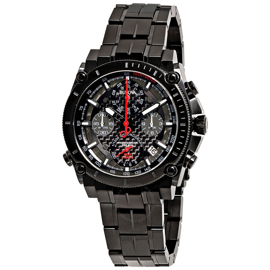 Bulova precisionist chronograph black carbon dial men 39 s watch 98g257 precisionist bulova for Watches bulova