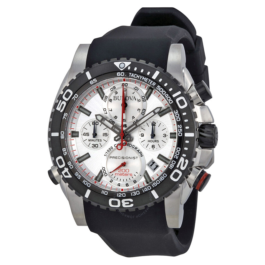 f71f2e473 Bulova Precisionist Chronograph Black Dial Black Rubber Men's Watch 98B210  ...