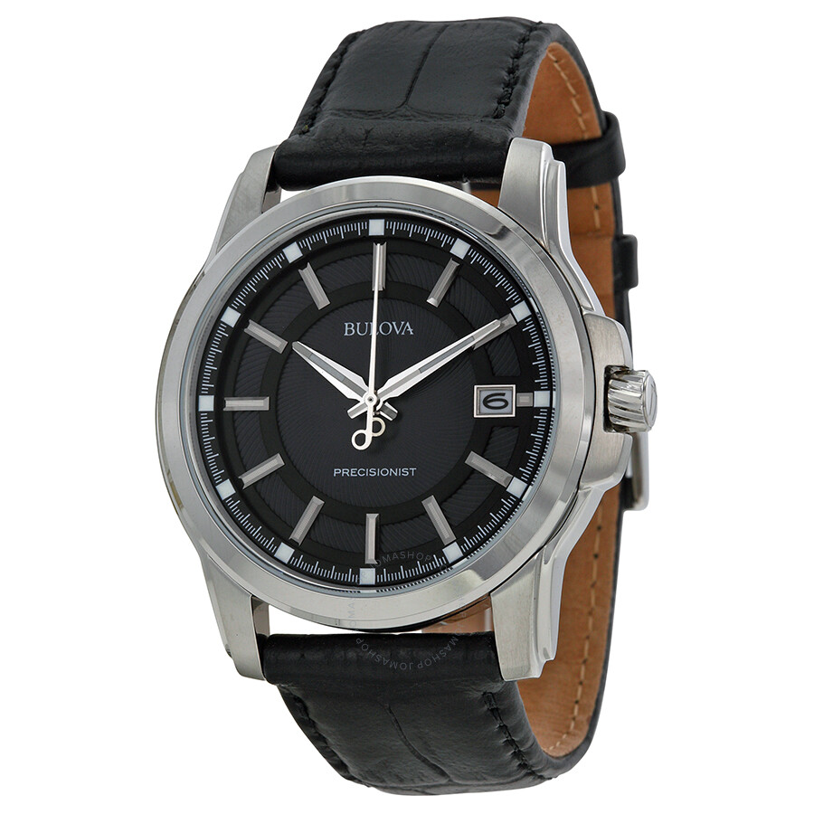 Bulova precisionist grey dial black leather men 39 s watch 96b158 precisionist bulova watches for Watches bulova