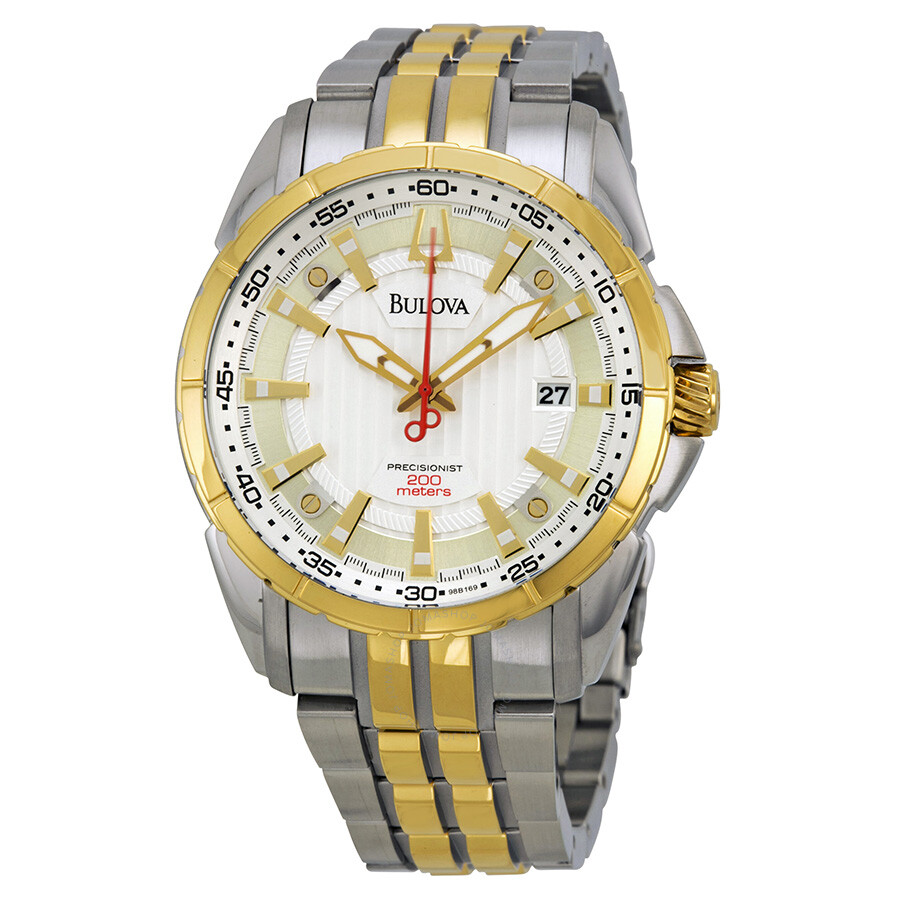 fbc26a007 Bulova Precisionist Silver Dial Two-tone Stainless Steel Men's Watch Item  No. 98B169