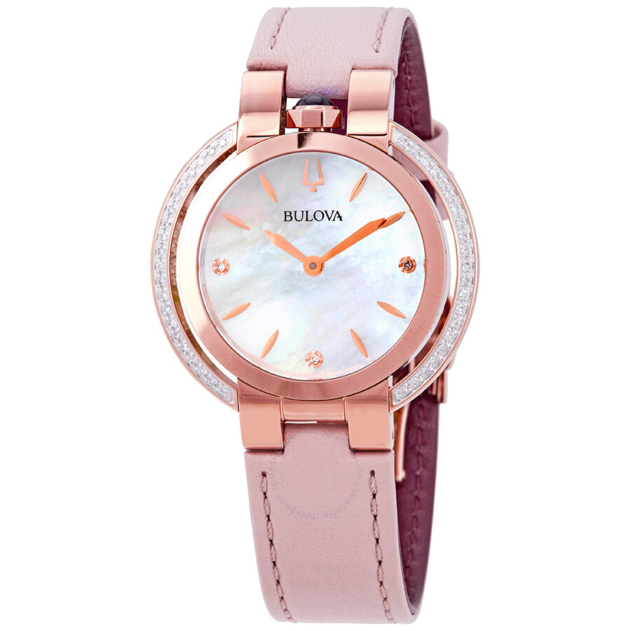2d2f9efcf Bulova Rubaiyat White Mother of Pearl Dial Ladies Leather Watch 98R267 ...