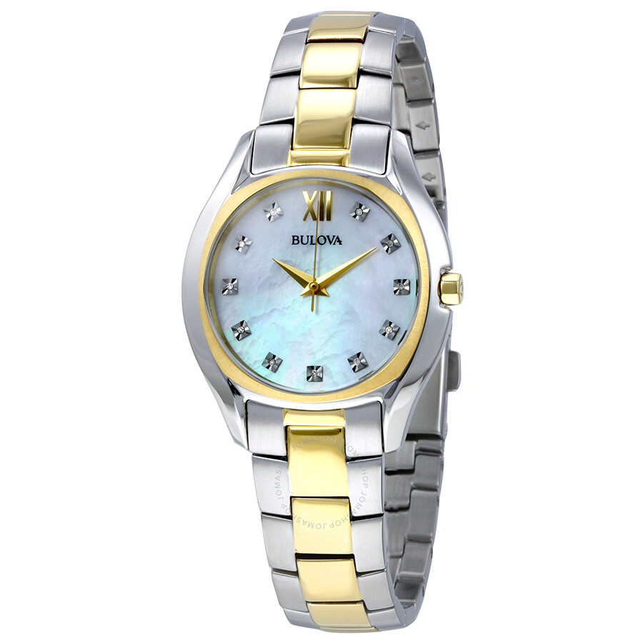 Bulova slim duet mother of pearl diamond dial ladies watch 98p145 bulova watches jomashop for Bulova watch
