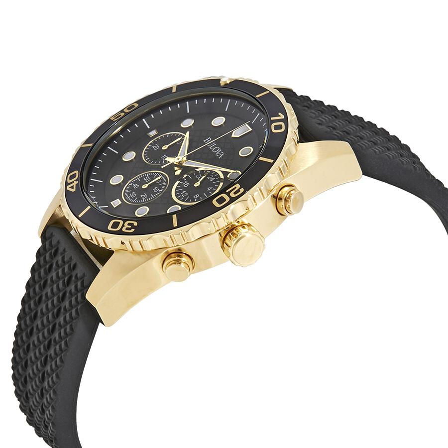 2486813d7fbf ... Bulova Sport Chronograph Black Dial Black Rubber Men s Watch 98A191 ...